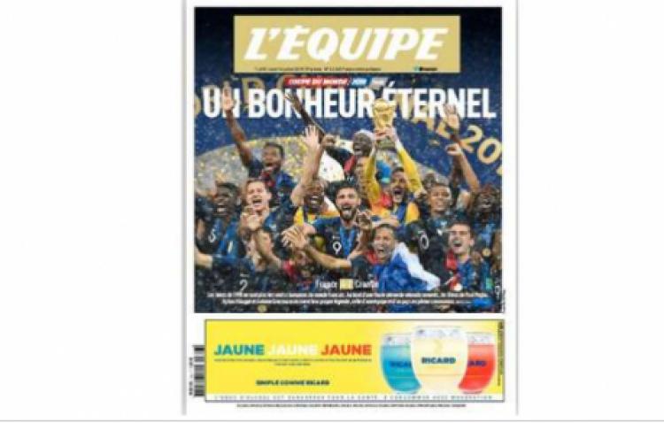 L'Equipe : tirage de 1,6 million d'exemplaires pour le sacre des Bleus